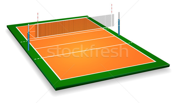 Perspective vector illustration of vollyball field court with net. Vector EPS 10. Room for copy Stock photo © olehsvetiukha