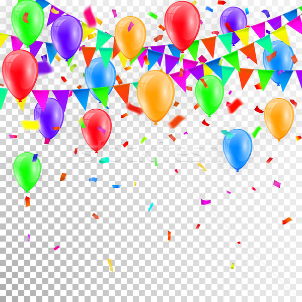 Party Background with balloons and Flags Vector, Colored confetti and festoons on transparent backgr Stock photo © olehsvetiukha