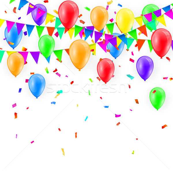 Party Background with balloons and Flags Vector, Colored confetti and festoons on the white backgrou Stock photo © olehsvetiukha