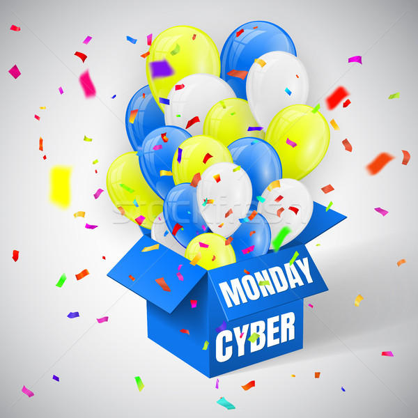 Cyber Monday Sale Poster with confetti,  blue, yellow and white Shiny Balloons Bunch flying from ope Stock photo © olehsvetiukha