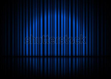Cena azul cortinas reflexão estoque Foto stock © olehsvetiukha