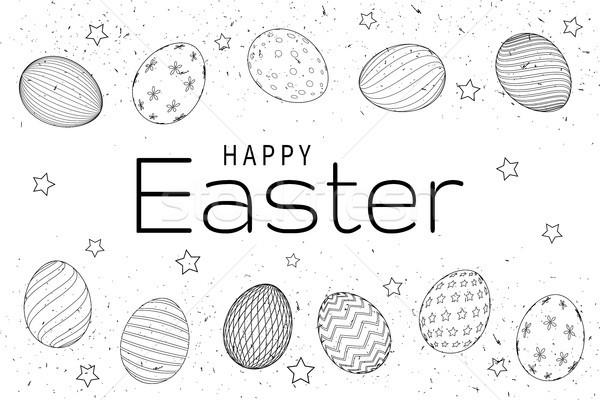 Húsvéti tojások kézzel rajzolt feketefehér húsvét kéz boldog Stock fotó © olehsvetiukha
