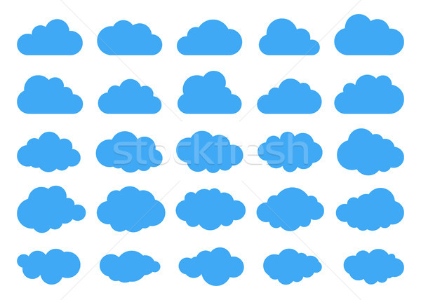 Clouds silhouettes. Vector set of clouds shapes. Collection of various forms and contours. Design el Stock photo © olehsvetiukha