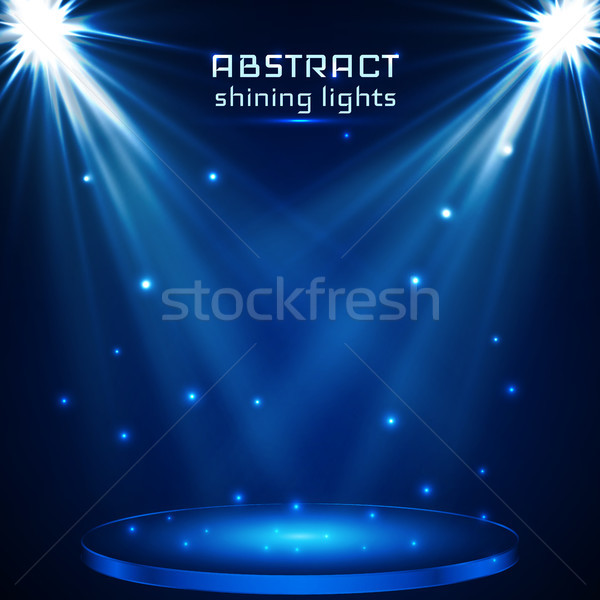 stage spot lighting. magic light. blue vector background Stock photo © olehsvetiukha