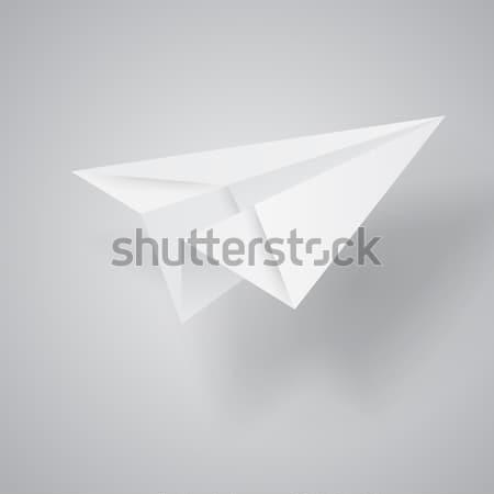 Illusztráció origami papírrepülő fehér papír háttér Stock fotó © olehsvetiukha