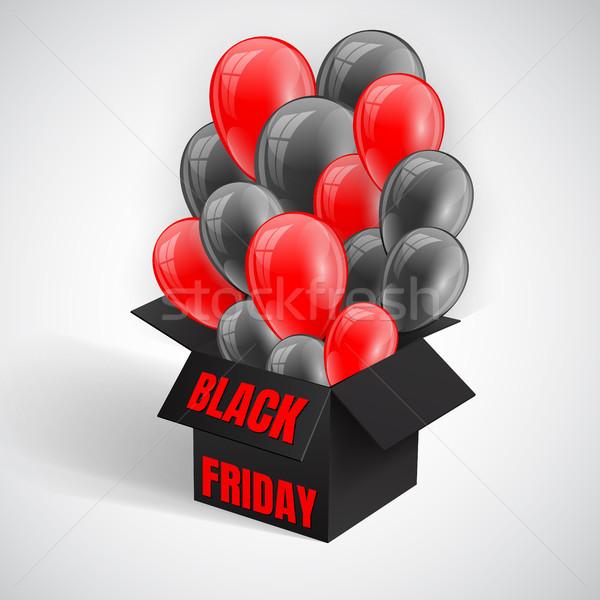 Black Friday Sale Poster with Dark Shiny Balloons Bunch flying from open black box. Vector illustrat Stock photo © olehsvetiukha