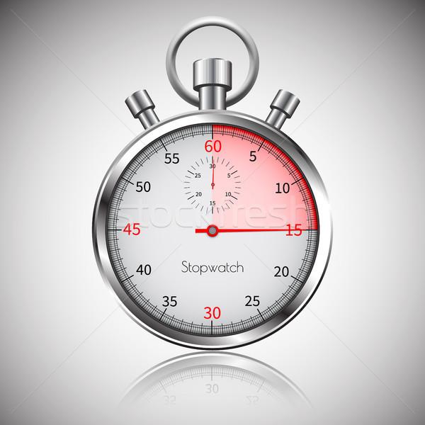 15 seconden zilver realistisch stopwatch reflectie Stockfoto © olehsvetiukha