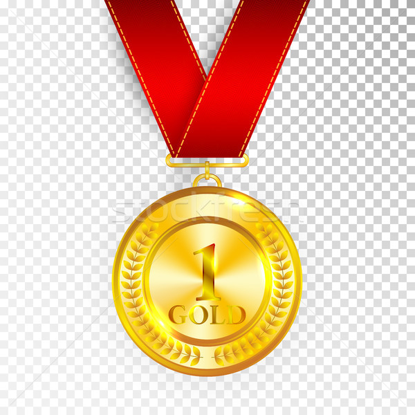 Champion Art Golden Medal with Red Ribbon 1 Icon Sign First Place Isolated on Transparent Background Stock photo © olehsvetiukha