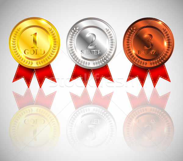 Champion Gold, Silver and Bronze Medal with Red Ribbon and reflection Icon Sign First, Second and Th Stock photo © olehsvetiukha