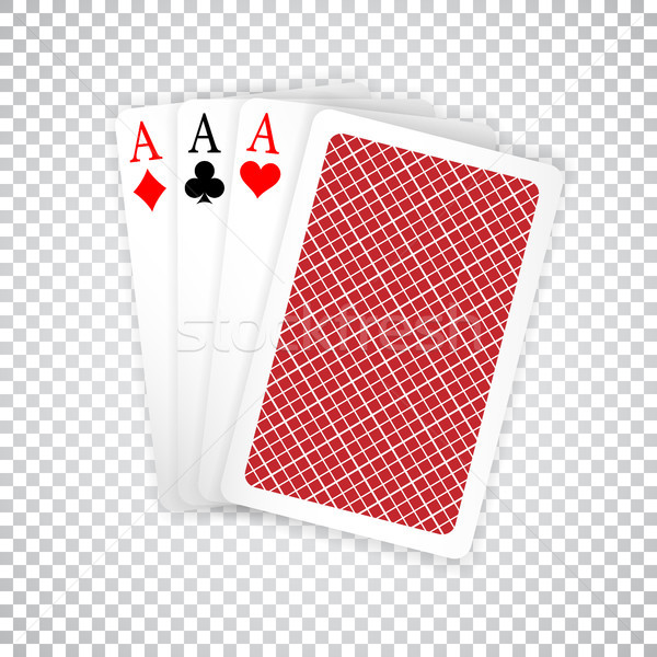 Set of three aces and one closed playing cards suits. Winning poker hand Stock photo © olehsvetiukha