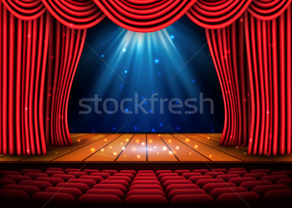 A theater stage with a red curtain and a spotlight and wooden floor. Festival Night Show poster. Vec Stock photo © olehsvetiukha