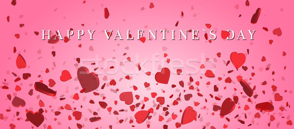Heart confetti of Valentines petals falling on pink background. Flower petal in shape of heart confe Stock photo © olehsvetiukha