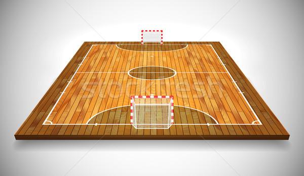 Perspective vector illustration of hardwood Futsal court or field. Vector EPS 10. Room for copy Stock photo © olehsvetiukha