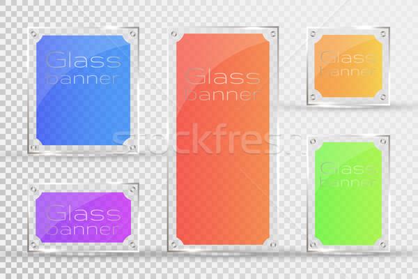 Stock foto: Glas · Platten · Vektor · Banner · transparent · Bilder