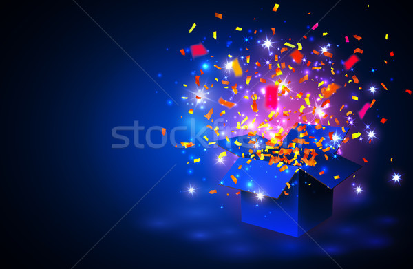 Vector gift vouchers with Open blue Gift Box and Confetti on blue background. Creative holiday cards Stock photo © olehsvetiukha