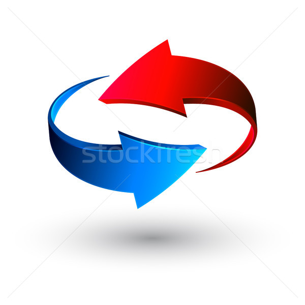 Blue and red 3d arrows, vector Stock photo © olehsvetiukha