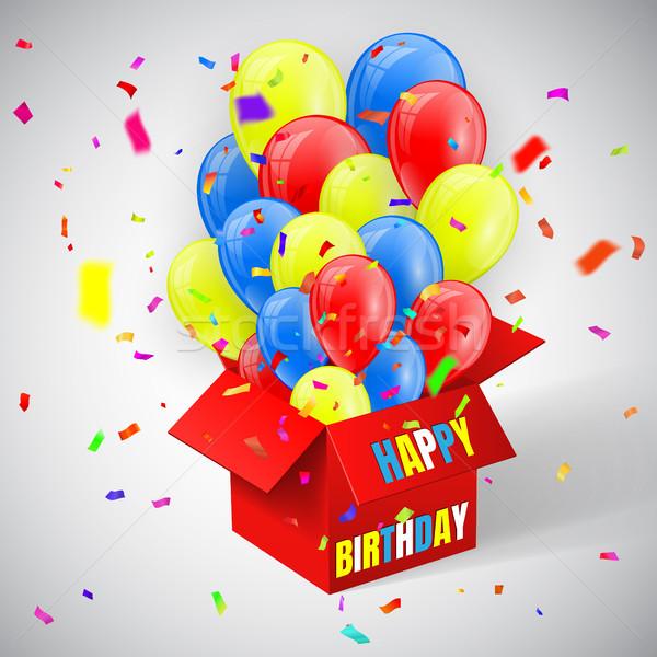 Buon compleanno poster confetti palloncini battenti Foto d'archivio © olehsvetiukha