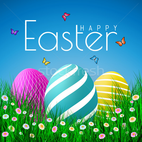 Vector Easter eggs with grass, butterfly and flowers isolated on a blue background. Element for cele Stock photo © olehsvetiukha
