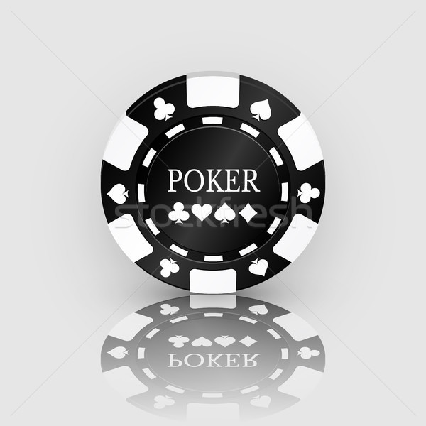 Black Casino Chip Icon with reflection. Casino Chip Vector Illustration Stock photo © olehsvetiukha