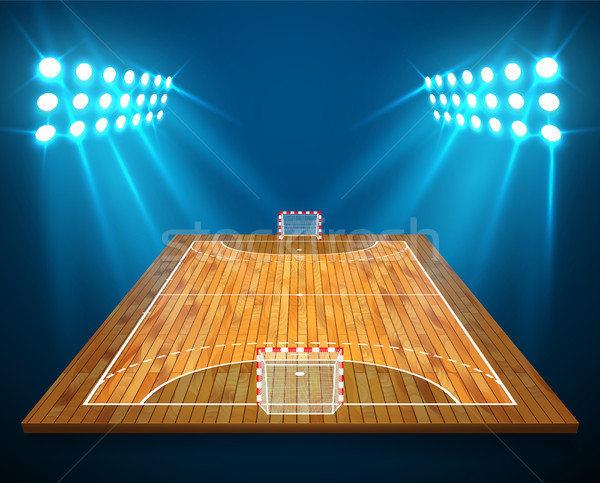 An illustration of hardwood perspective handball field, cort with bright stadium lights design. Vect Stock photo © olehsvetiukha