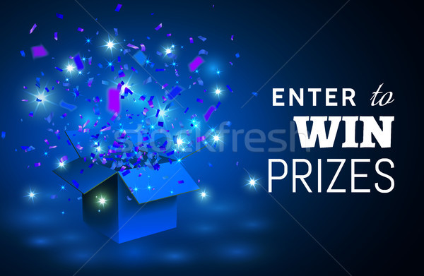 Open blue Gift Box and Confetti on blue background. Enter to Win Prizes. Vector Illustration Stock photo © olehsvetiukha