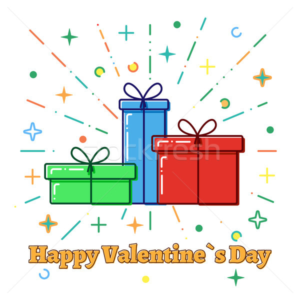 Flat line concept Gift boxes, Valentine`s day card, vector Stock photo © olehsvetiukha
