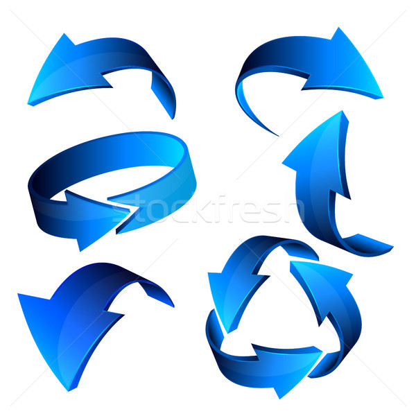 Blue 3d arrows, vector Stock photo © olehsvetiukha