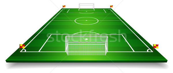 Perspective vector illustration of football field, soccer field. Vector EPS 10. Room for copy Stock photo © olehsvetiukha