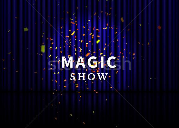 театра этап синий занавес Spotlight отражение Сток-фото © olehsvetiukha