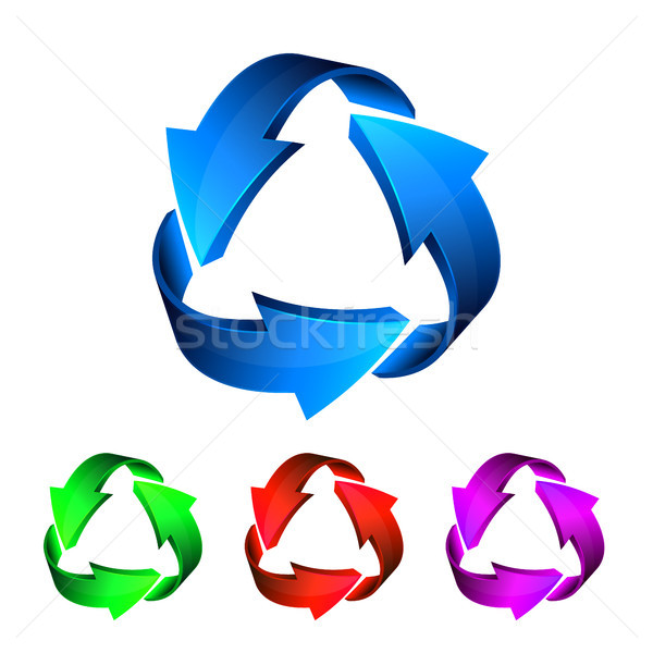 Blue red green pink recycle arrows, recycle simbol, vector Stock photo © olehsvetiukha