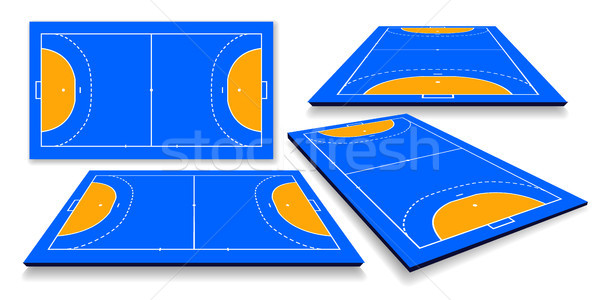 detailed illustration of a handball field, cort with perspective, eps10 vector Stock photo © olehsvetiukha