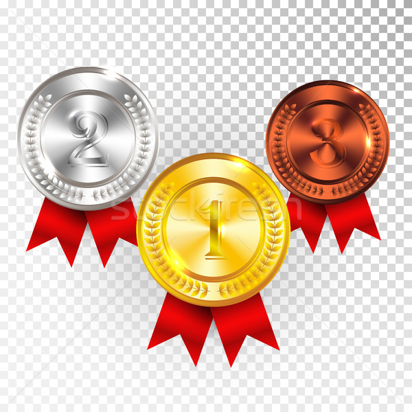 Champion Gold, Silver and Bronze Medal with Red Ribbon Icon Sign First, Second and Third Place Colle Stock photo © olehsvetiukha