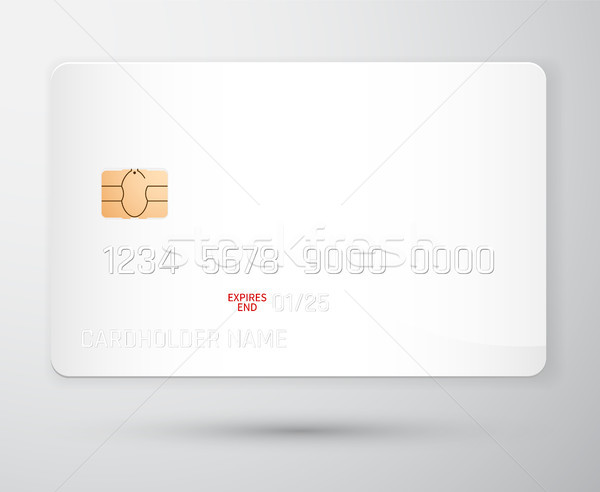 Credit card mockup. Realistic detailed credit cards set abstract design background. Front template.  Stock photo © olehsvetiukha