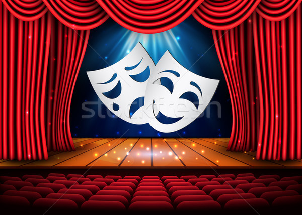 Happy and sad theater masks, Theatrical scene with red curtains. Stock vector illustration Stock photo © olehsvetiukha