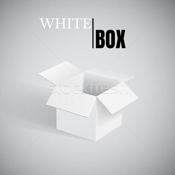 Foto stock: Abrir · caixa · branco · cartão · vetor · recipiente
