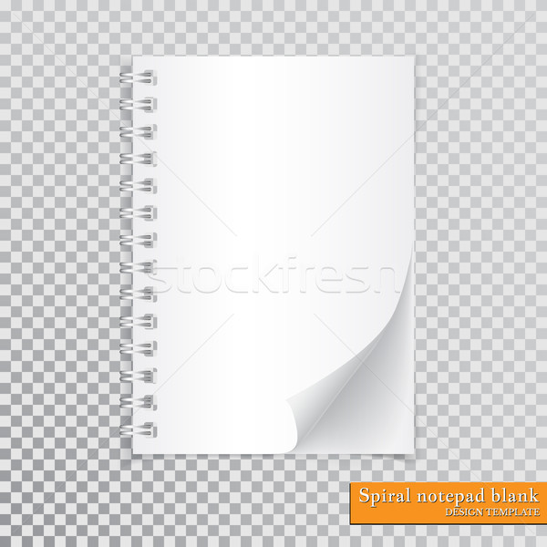 Stock photo: Realistic spiral notepad blank with cornered sheet of paper mock up on transparent background. Vecto