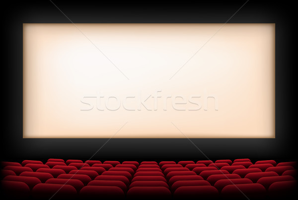 Cinéma auditorium écran rouge vecteur fond Photo stock © olehsvetiukha