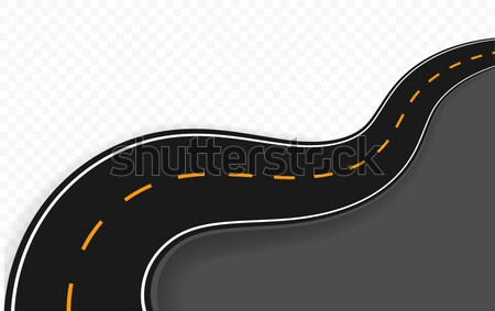 Stock photo: Winding Road Isolated Transparent Special Effect. Road way location infographic template. Vector EPS