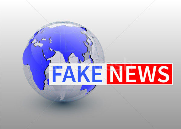 Fake news, world news backgorund with planet, TV news design. Vector Stock photo © olehsvetiukha
