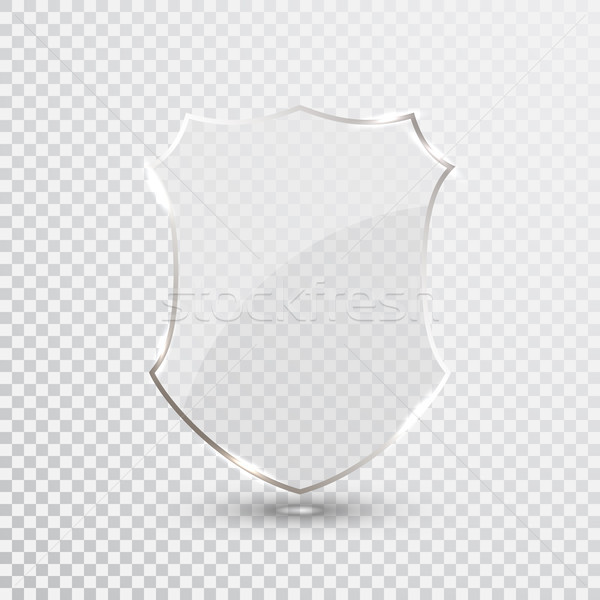 Stock photo: Transparent Shield. Safety Glass Badge Icon. Privacy Guard Banner. Protection Shield Concept. Decora