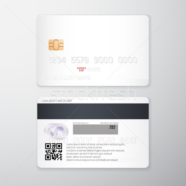 Credit card mockup. Realistic detailed credit cards set abstract design background. Front and back s Stock photo © olehsvetiukha