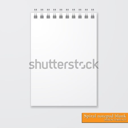 Realistic spiral notepad blank on white background. Vector Stock photo © olehsvetiukha