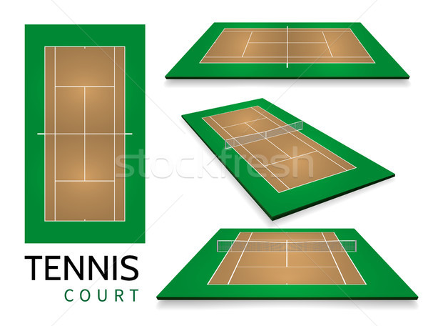Tennis court . Top view and different perspective, eps10 vector Stock photo © olehsvetiukha