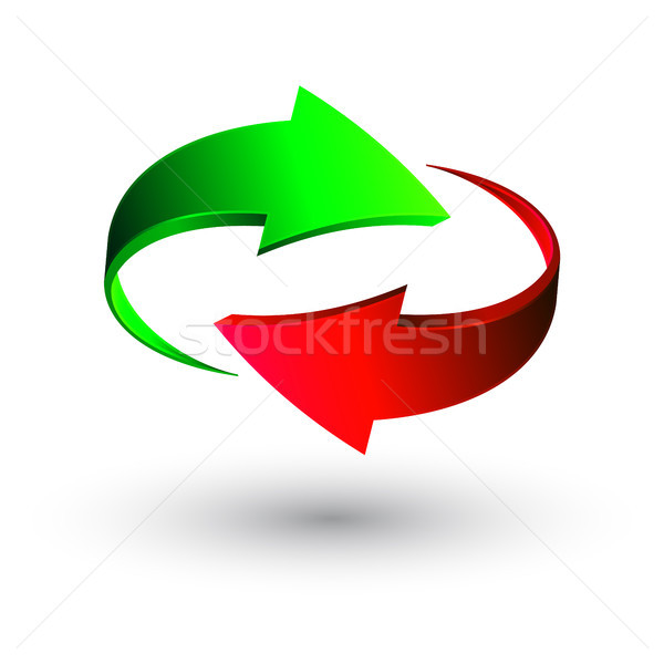 Green and red 3d arrows, vector Stock photo © olehsvetiukha