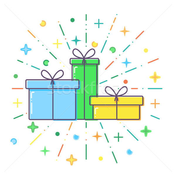 Flat blue, green and yellow Gift boxes vector Stock photo © olehsvetiukha