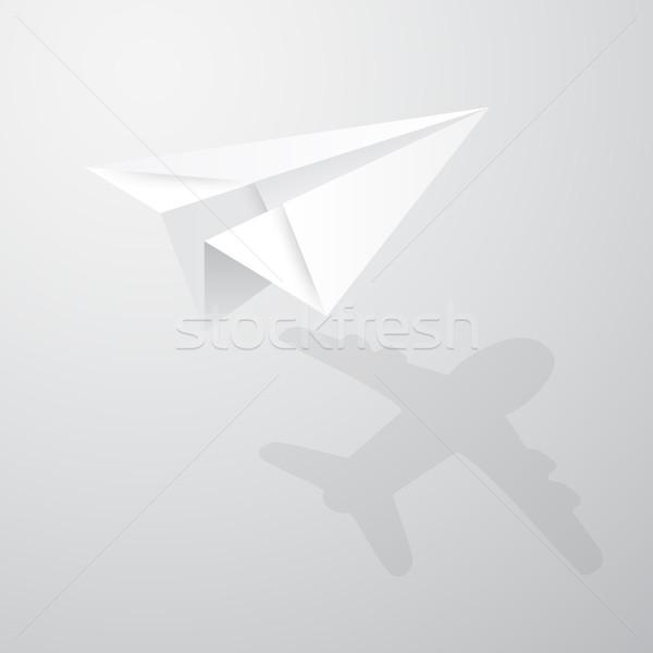 örnek origami kağıt uçak beyaz kâğıt arka plan Stok fotoğraf © olehsvetiukha