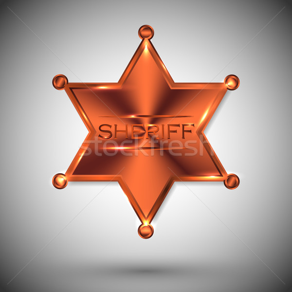 vector metal sheriff star isolated on white background. vector six-pointed star Stock photo © olehsvetiukha