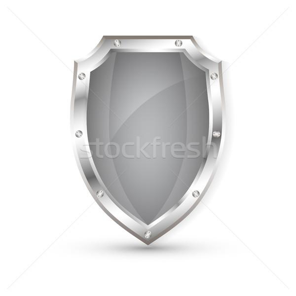 Empty metal shield, protection shield, vector illustration Stock photo © olehsvetiukha