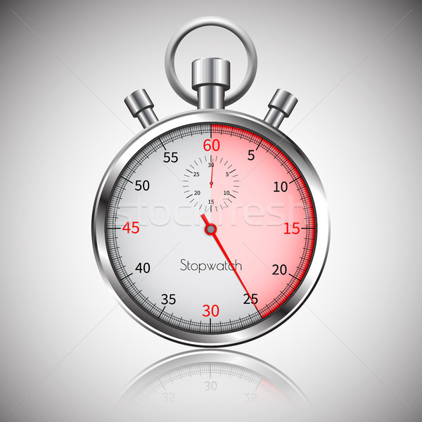 25 seconds. Silver realistic stopwatch with reflection. Vector Stock photo © olehsvetiukha
