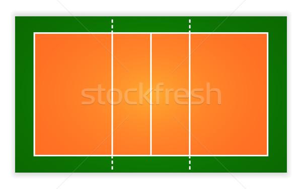 Ilustração voleibol tribunal vetor eps Foto stock © olehsvetiukha